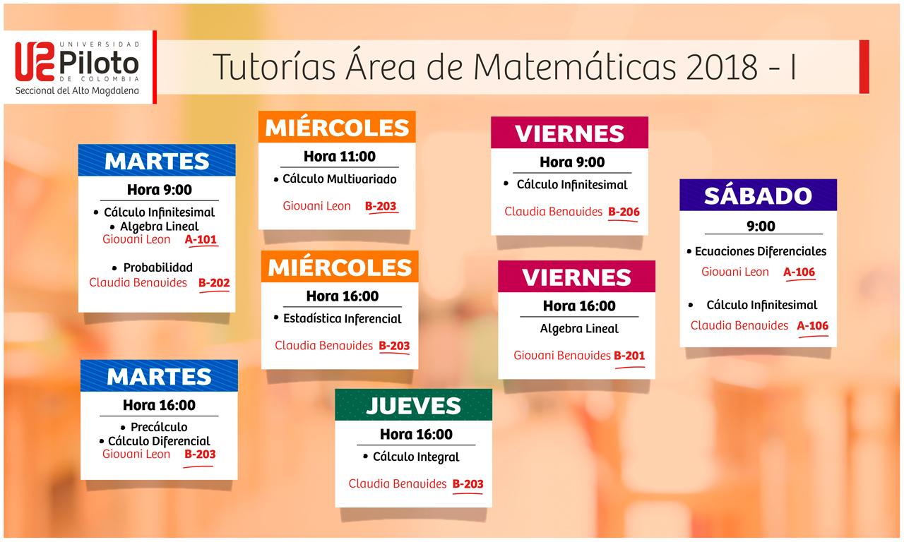 Tutorías Área de Matemáticas 2018 – 1