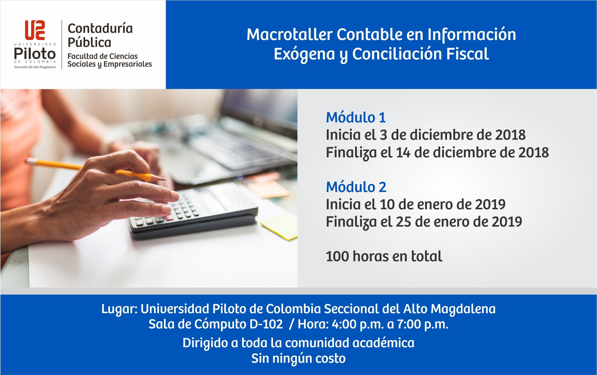 Macrotaller Contable en Información Exógena y Conciliación Fiscal